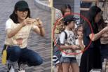 48岁黎姿带女儿逛乐园