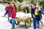 大雪封路 村民用板车拉孕妇前往医院