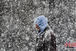 美国多地迎来暴风雪 居民冒雪前行