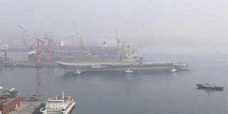 首次海试!1分钟看国产航母离港全程