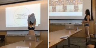 亚裔女生不满老师批评 只穿内衣答辩