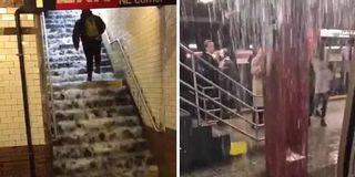 纽约暴雨地铁站被淹成
