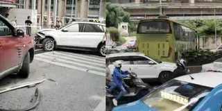 客车失控连撞18车致4人伤 司机被控制