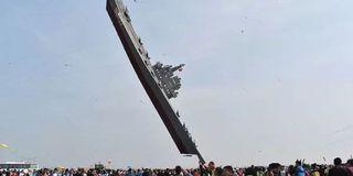 硬核风筝!潍坊国际风筝节放飞航母风筝