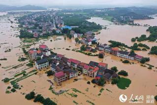 湖南衡东县一处堤坝决堤 造成4村受灾
