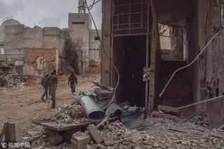 叙利亚东古塔地区空袭后 遍地废墟似鬼城