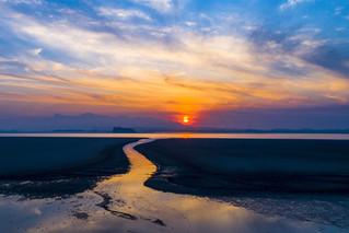 鄱阳湖枯水一线 落霞与孤鹜齐飞