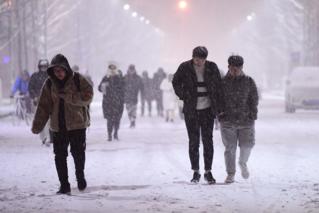 沈陽降下立冬后首場冬雪 市民踏雪出行