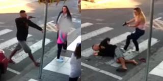 实拍持枪劫匪挟持小孩 被母亲开枪击倒